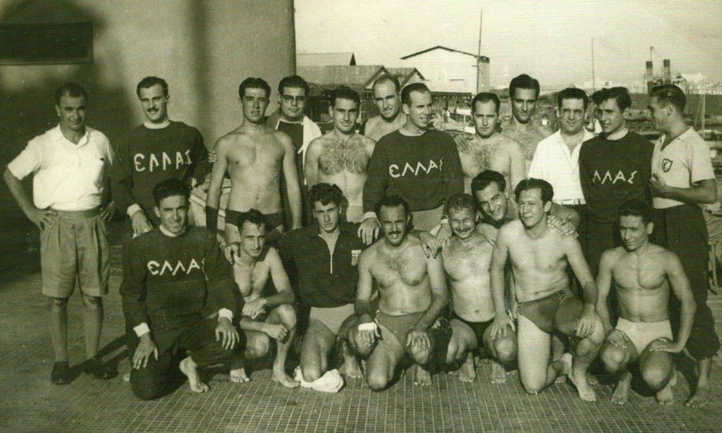 La selecció grega de waterpolo a Alexandria 1951