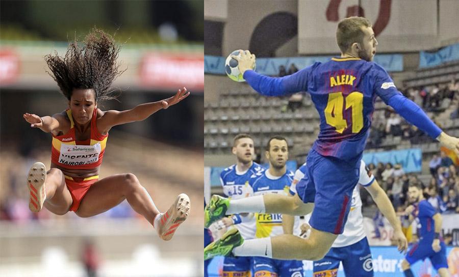 Maria Vicente i Aleix Gómez, les promeses. Fotos: RFEA i FCBarcelona