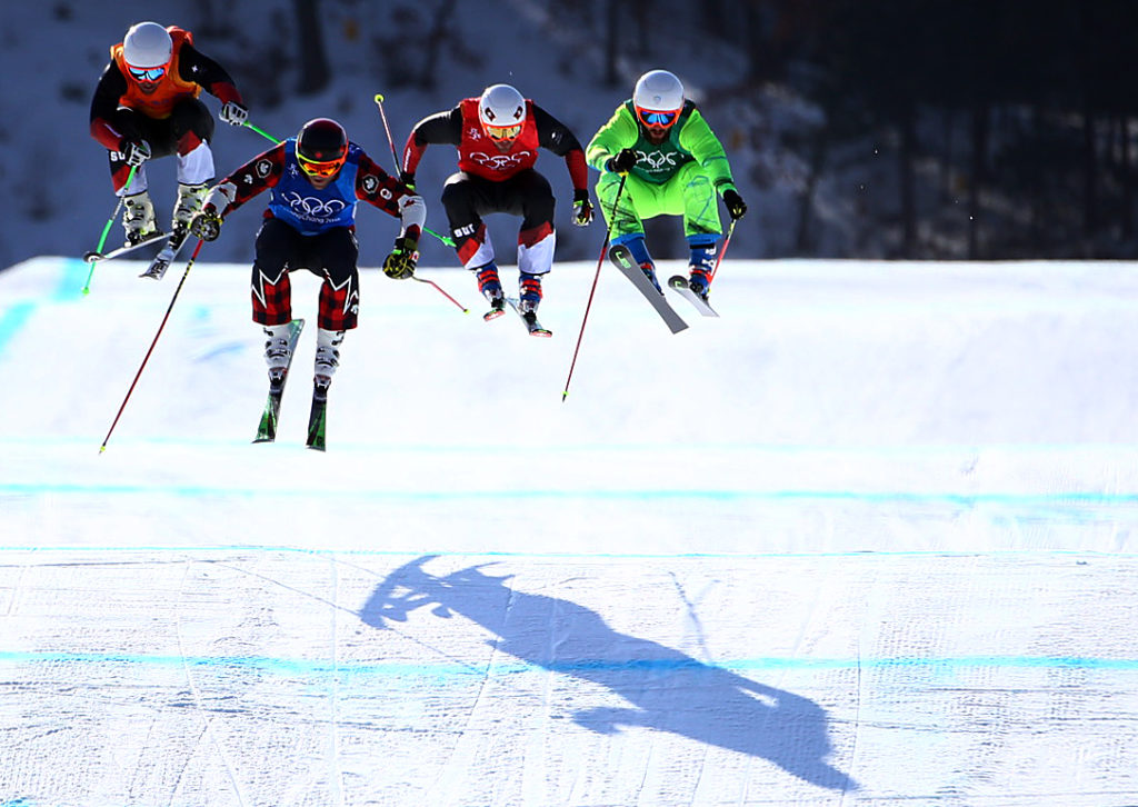 Brady Leman of Canada wins his semifinal of Men's Ski Cross at Phoenix Snow Park during the PyeongChang 2018 Olympic Winter Games in PyeongChang, South Korea on February 21, 2018.  (Photo by Vaughn Ridley/COC)