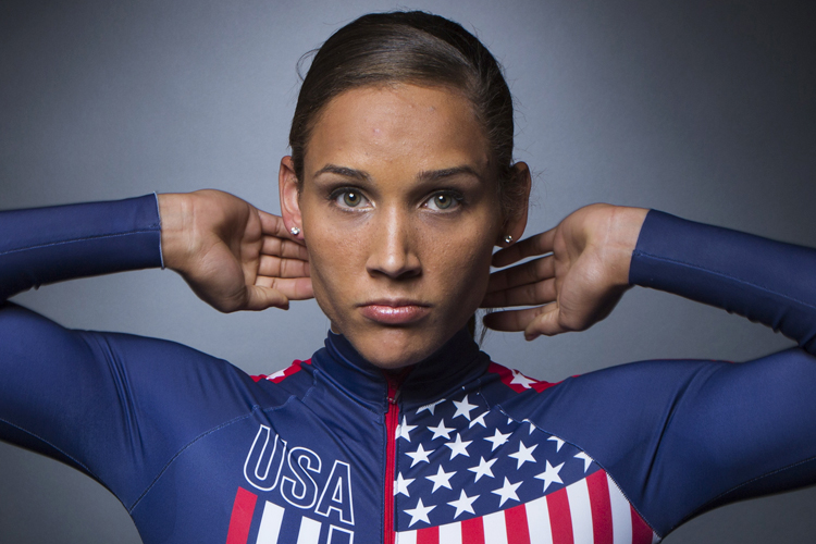 Bobsledder Lolo Jones poses for a portrait during the 2013 U.S. Olympic Team Media Summit in Park City, Utah