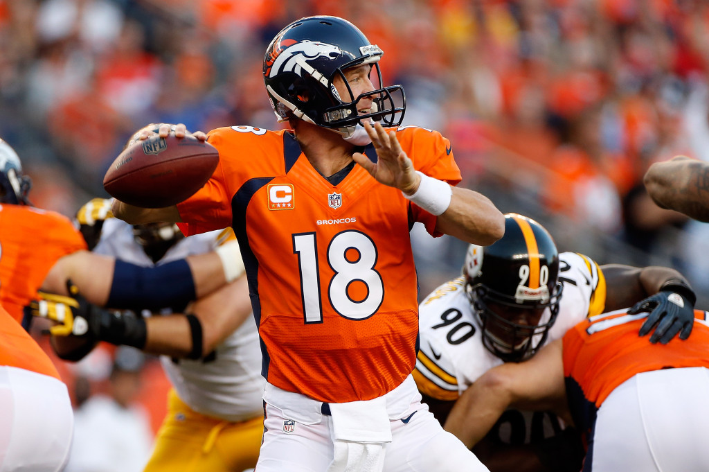 DENVER, CO - SEPTEMBER 09:  Quarterback Peyton Manning #18 of the Denver Broncos delivers a pass against the Pittsburgh Steelers at Sports Authority Field at Mile High on September 9, 2012 in Denver, Colorado.  (Photo by Doug Pensinger/Getty Images)