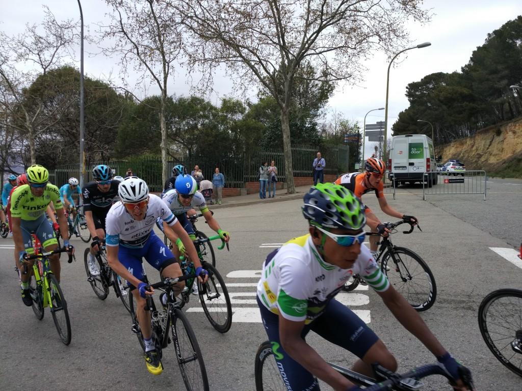 Nairo Quintana, Dan Martin i Alberto Contador, junts en l'última ascensió puntuable a Montjuïc / Roger Castillo