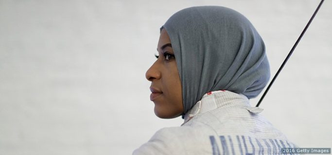 NEW YORK, NY - JULY 07: American Olympic fencer Ibtihaj Muhammad poses for a portrait at the Fencers Club on July 7, 2016 in New York City. Muhammad will be the first Muslim women to represent the United States while wearing a hijab at the 2016 Rio Olympic Games. (Photo by Ezra Shaw/Getty Images)