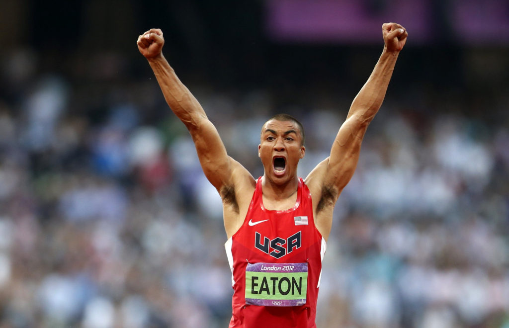 Ashton Eaton of the U.S. reacts as he competes in the men's decathlon javelin throw event during the London 2012 Olympic Games