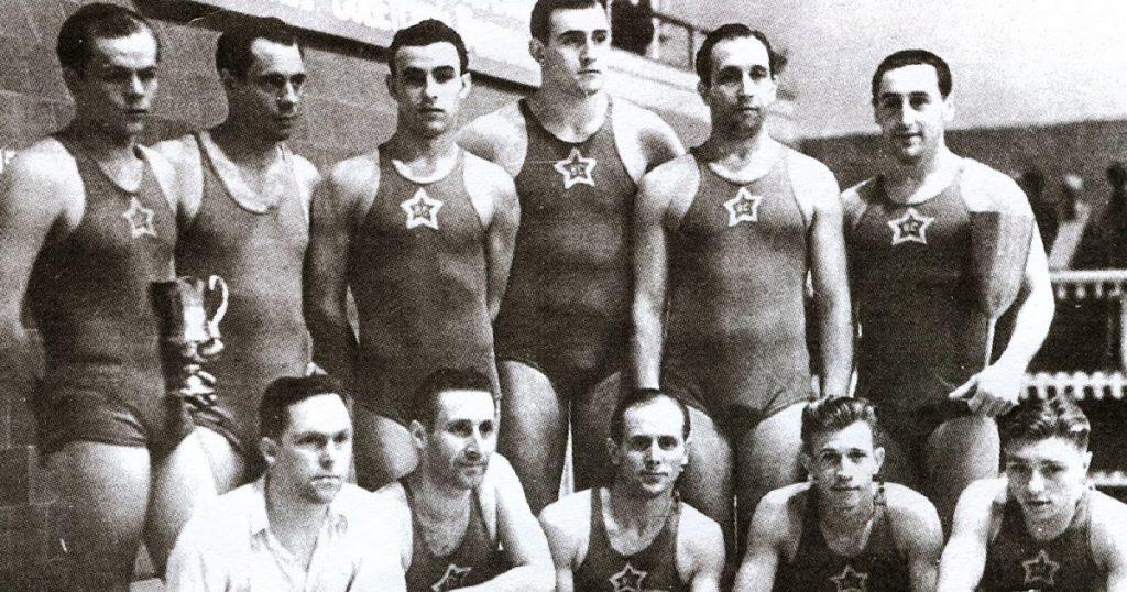 Equip del posteriorment temible CSKA de waterpolo. Any 1950