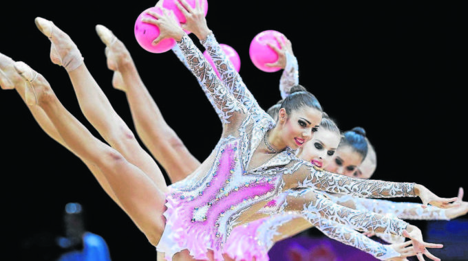 The Team From Russia Performs During The Rhythmic Gymnastics Gro
